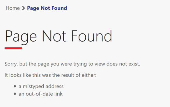 Page Not Found Page